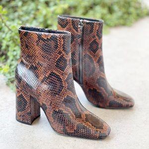 ASH Jade Python Embossed Snakeskin Booties Boots